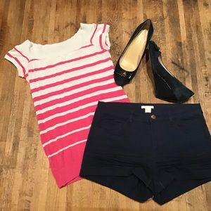 📦 F21 pink & white stripe stretchy top